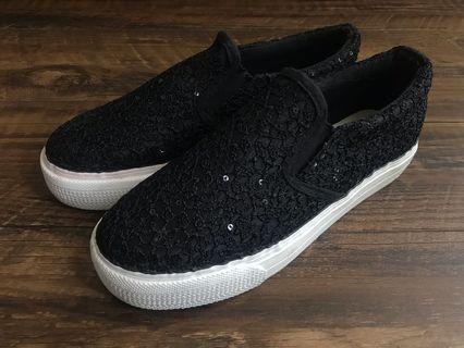 🌟98%new 黑色閃片休閒增高鞋 black slip-on sneakers