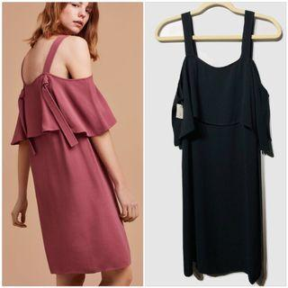 Aritzia WILFRED Ellipse Cold Shoulder Black Dress - Small