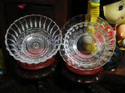 水晶玻璃切花波稀米亞碗兩隻