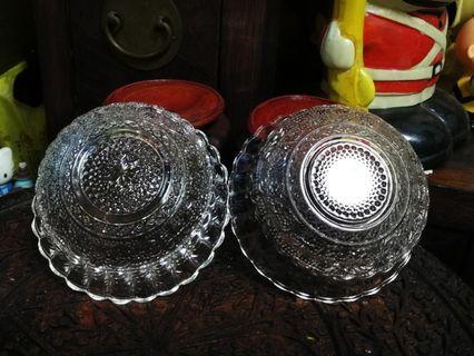 水晶玻璃玻稀米亞碗兩隻