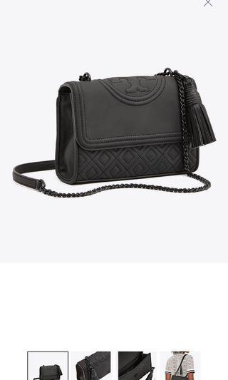 TORY BURCH FLEMING MATTE BLACK SMALL CONVERTIBLE SHOULDER BAG