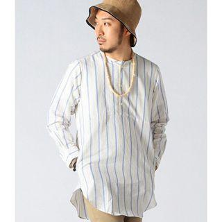 Beams Japan Long Length Lined Cotton Linen Striped Shirt