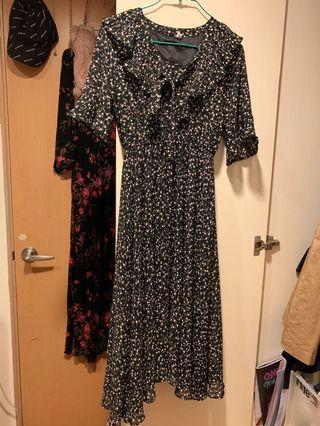韓製 碎花洋裝 超美 不規則裙擺 兩層裙