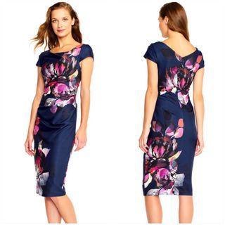 Adrianna Papell Floral Magnolia Cowlneck Dress Sz 8 Medium