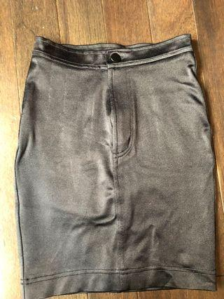 American apparel black shiny 3/4 skirt size XS