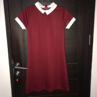 Maroon  Tie Dress