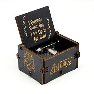 Harry Potter Music Box Movie Theme Engraved Wooden Hand Crank Black Musical Boxes