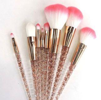 8PCS Peach Glitter Unicorn Brushes