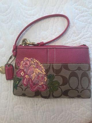 Coach Brown and Pink Floral Wristlet