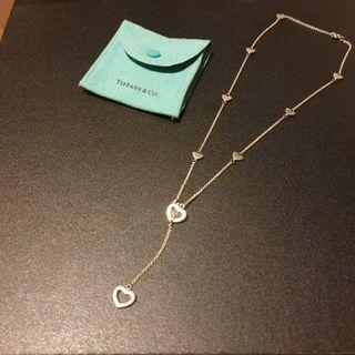 Tiffiany & Co Heart Link Lariat Silver Necklace