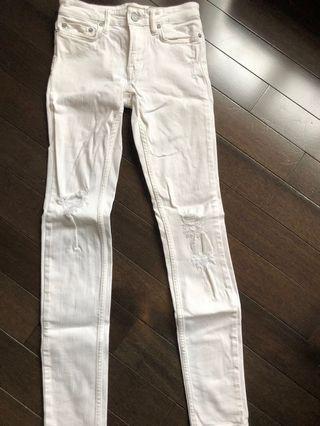 White distressed All Saints Denim jeans size 24