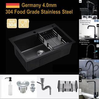 🇩🇪 4mm Thick Black Steel Kitchen Sink / Black Kitchen Sink