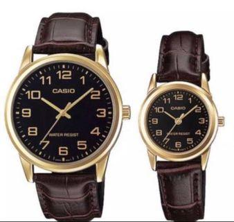 Casio Couple Leather Watches LTPV001GL-1B and MTPV001GL-1B