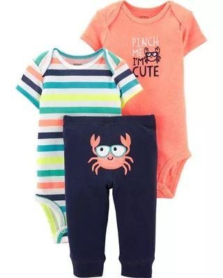Brand New Instock Carter's 3 Pc Little Character Set Rompers Onesies Bodysuit Pants Boys