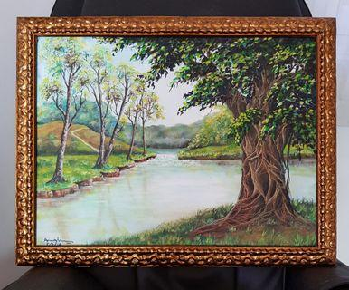 "BN Large ""Tree of Life"" Oil Painting with Gilded Frame"