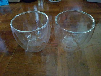 BNIB: Two doublewalled glass cups