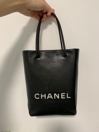Chanel leather small tote bag paper bag style