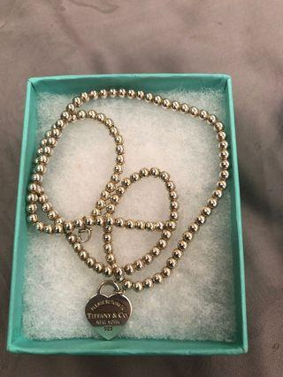Tiffany and Co heart tag bead necklace
