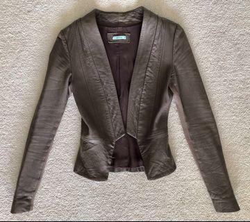 Kookai Chocolate Brown fitted leather jacket sz34 (Au 6)