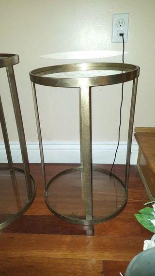 Metal framed glass side tables(both)