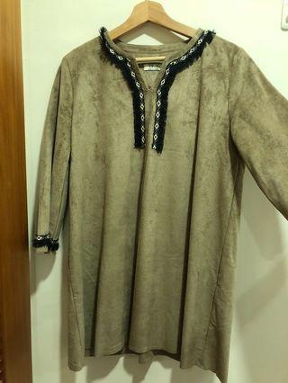 韓貨 麂皮洋裝 民族風