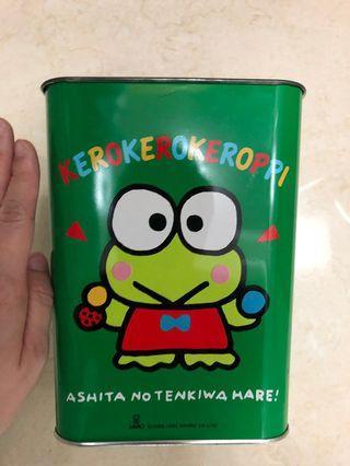 Sanrio 1990年 Kerokerokeroppi / keroppi / 青蛙仔 中古大鐵罐 絕版罕有 童年回憶