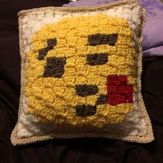 New! Emoji Crochet pillow case with pillow
