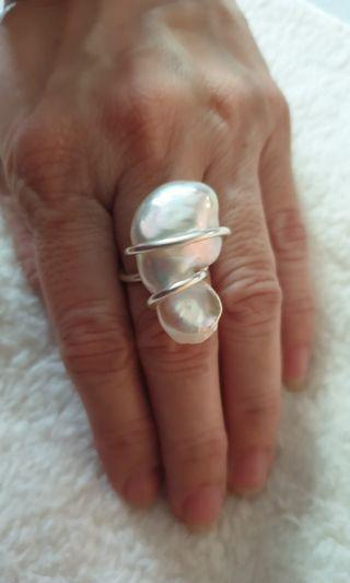 Handmade Baroque pearl ring
