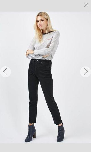 REDUCED TO CLEAR TopShop Moto Washed Black Raw Hem Straight Jeans