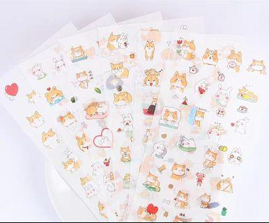[In stock] 6 in 1 Inu Shiba and Rabbit Friends Sticker Sheet