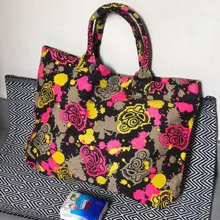 絕版Hysteric glamour Mini Bag tote 手挽袋 A4 size 螢光潑墨 hg handbag 布袋 黑超B