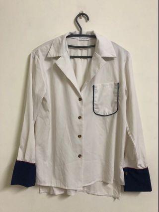 🚚 拼接長袖白色襯衫