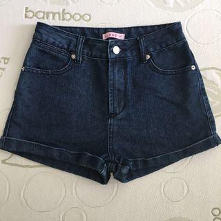 Supre Size XS (8) Dark Blue Cuffed High Waisted Shorts
