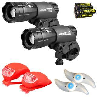 2691 HeroBeam Bike Lights Double Set - The Ultimate Lighting and Safety Pack of Super Bright Front Bicycle Lights, Tail Lights and Wheel Lights - not Includes All Batteries -