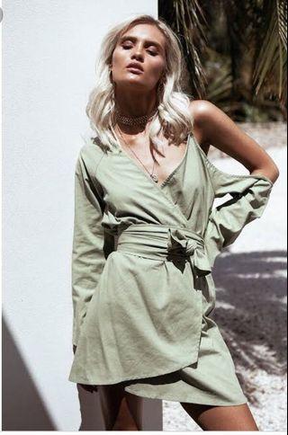 Sabo skirt green off shoulder dress