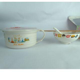 安妮兔 陶瓷多用蓋碗組 碗組/飯碗/陶瓷碗/兒童碗/點心碗/湯碗/送禮