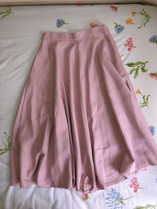 🚚 Blush Pink Flare Midi Skirt