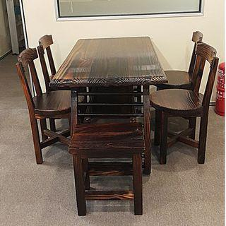Wooden Tea table with 5 chairs set