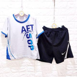 (E1510灰)夏男大童印花AFT排汗套裝 120-170 台灣製造