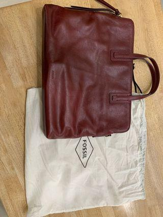 Fossil calf leather laptop briefcase