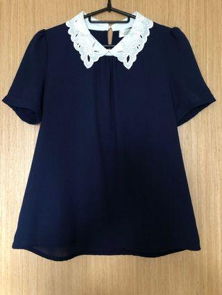 Navy Blue Top with lace collar