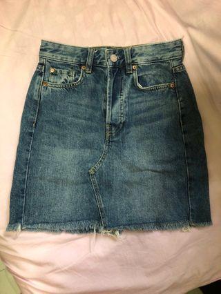 H&M高腰深藍色夏天牛仔裙牛仔短裙