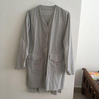 Free Size Striped Long Blouse
