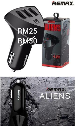 Remax Fast Car Charger Alien 3USB 4.2A Fast Charging