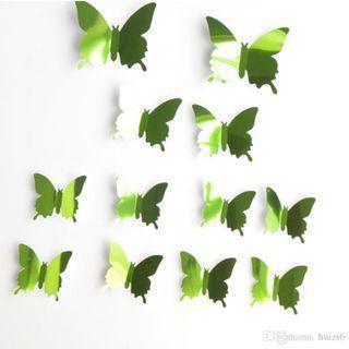 TERMURAH !! 3D DECORATION KUPU-KUPU NON MAGNET - MIROR GREEN