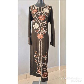 Preloved Jubah Hijau Coklat