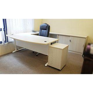 office U-shape table with leather chair + roller cabinet