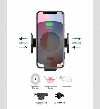 Automatic Wireless Charger - Mobile Phone Infrared Proximity Cradle - Air Vent and Windscreen Mount Set