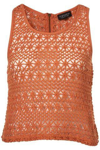 Orange Brown Crochet Zip Sleeveless Crop Top