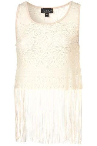 Cream Lace Fringe Vest Crop Top